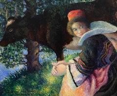 Bretonne à la Vache by Georges Manzana Pissarro - Landscape oil painting