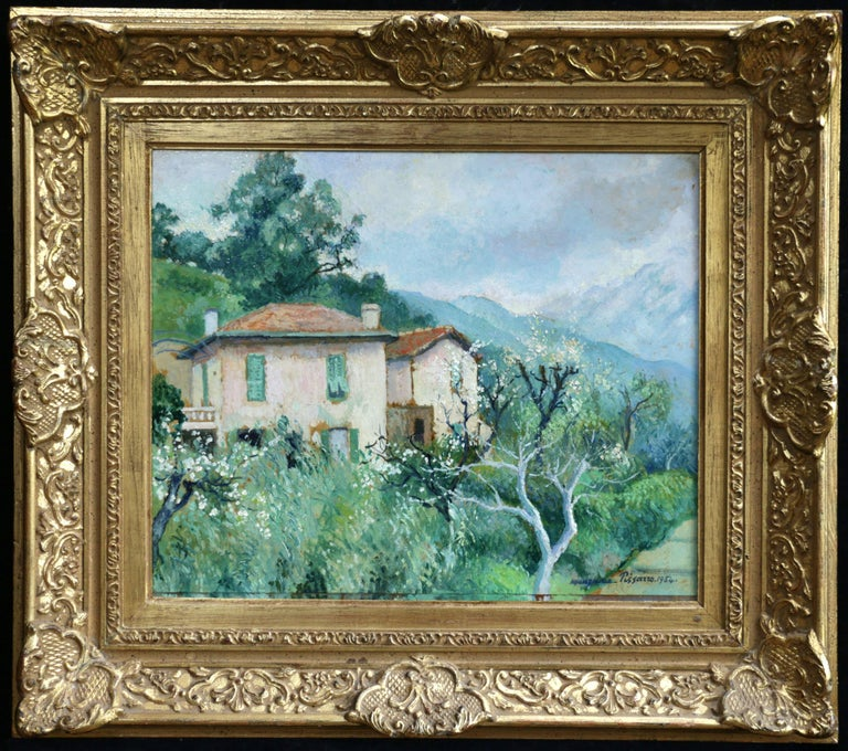 Carei - Menton - 20th Century Oil, House in Mountain Landscape by G H M Pissarro - Painting by Georges Henri Manzana Pissarro