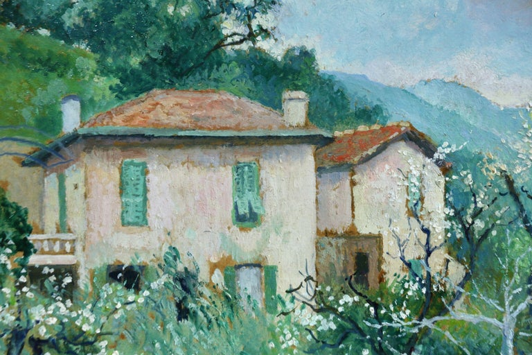 Carei - Menton - 20th Century Oil, House in Mountain Landscape by G H M Pissarro - Post-Impressionist Painting by Georges Henri Manzana Pissarro