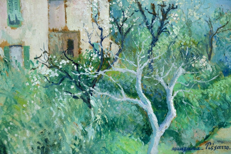 Carei - Menton - 20th Century Oil, House in Mountain Landscape by G H M Pissarro - Blue Landscape Painting by Georges Henri Manzana Pissarro