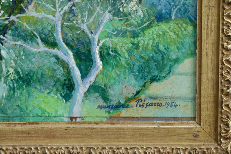 Oil on paper laid on board. Signed and dated 1954 lower right and inscribed verso. Framed dimensions are 24 inches high by 27 inches wide.  Georges Manzana-Pissarro was the second son of Camille Pissarro and was also taught by him. He also studied