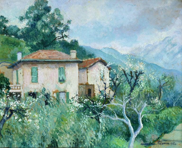 Georges Henri Manzana Pissarro Landscape Painting - Carei - Menton - 20th Century Oil, House in Mountain Landscape by G H M Pissarro