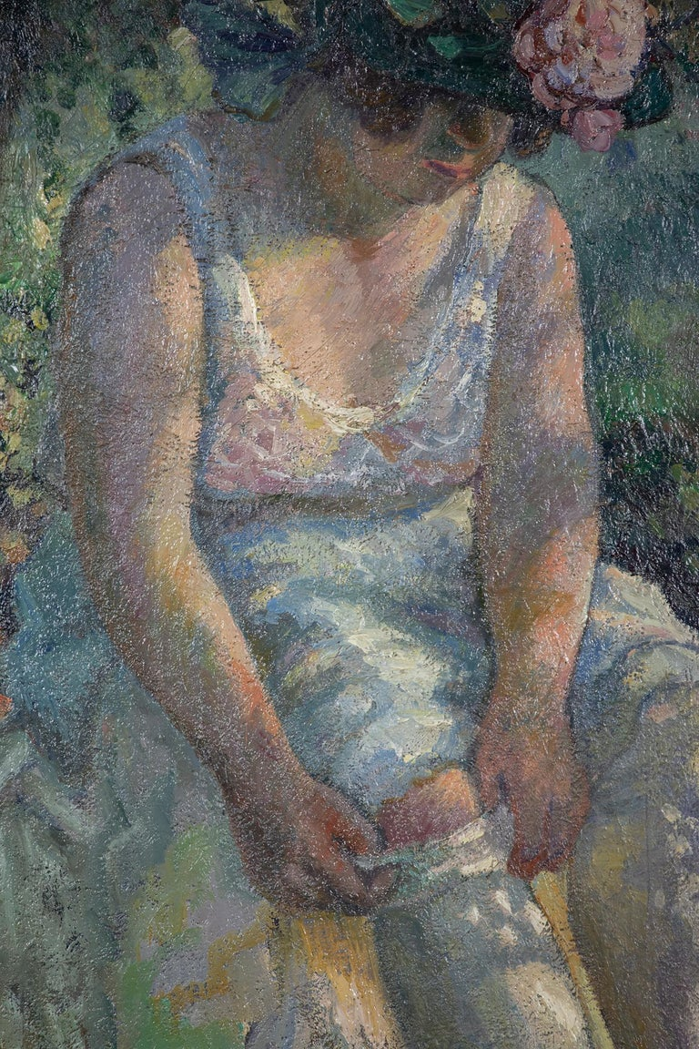 Figurative oil painting titled Femme Mettant Son Bas by Georges Manzana Pissarro - Painting by Georges Henri Manzana Pissarro