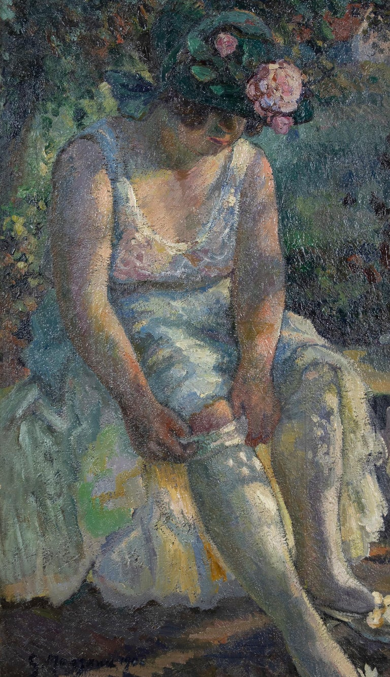 Georges Henri Manzana Pissarro Portrait Painting - Figurative oil painting titled Femme Mettant Son Bas by Georges Manzana Pissarro