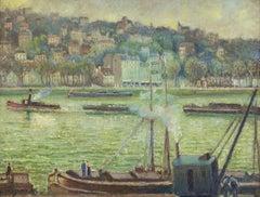La Grue St Cloud by Georges Manzana Pissarro - River scene oil painting, 1902