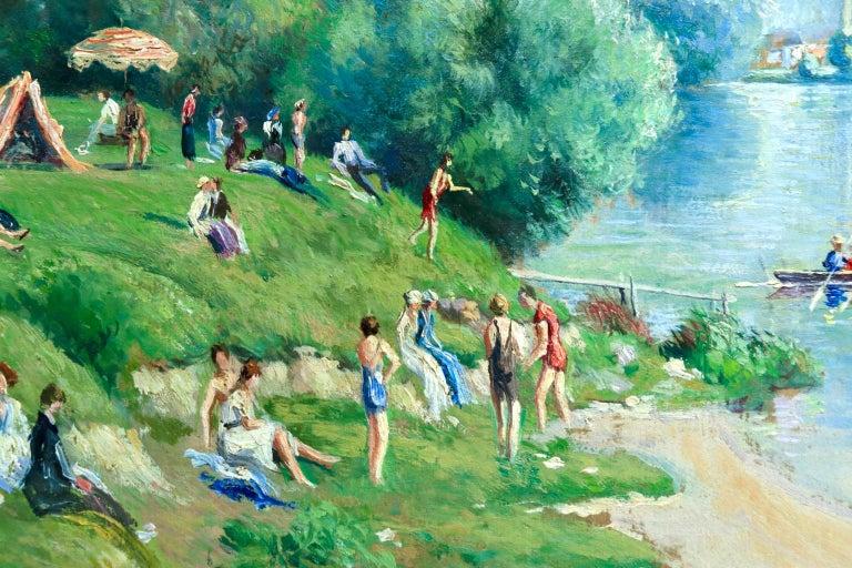La plage et les baignades - Le Petit Andely - Riverscape Oil by Georges Pissarro For Sale 5