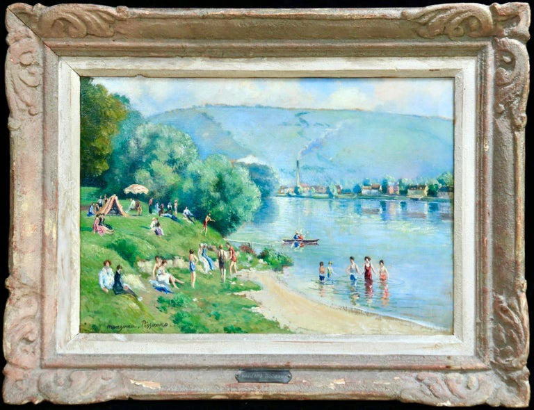 La plage et les baignades - Le Petit Andely - Riverscape Oil by Georges Pissarro - Painting by Georges Henri Manzana Pissarro