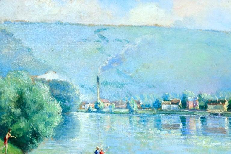 La plage et les baignades - Le Petit Andely - Riverscape Oil by Georges Pissarro - Post-Impressionist Painting by Georges Henri Manzana Pissarro