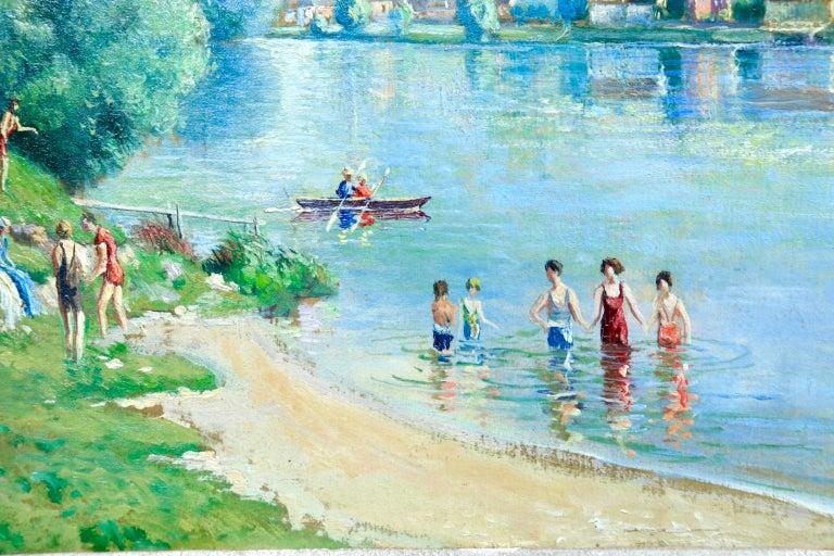 La plage et les baignades - Le Petit Andely - Riverscape Oil by Georges Pissarro - Blue Figurative Painting by Georges Henri Manzana Pissarro