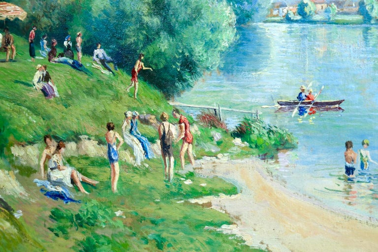 A wonderful oil on board by French post-impressionist painter Georges Manzana Pissarro depicting bathers sunbathing and paddling in the river on a warm summer's day. Signed lower left and signed & titled again verso. A certificate of authenticity