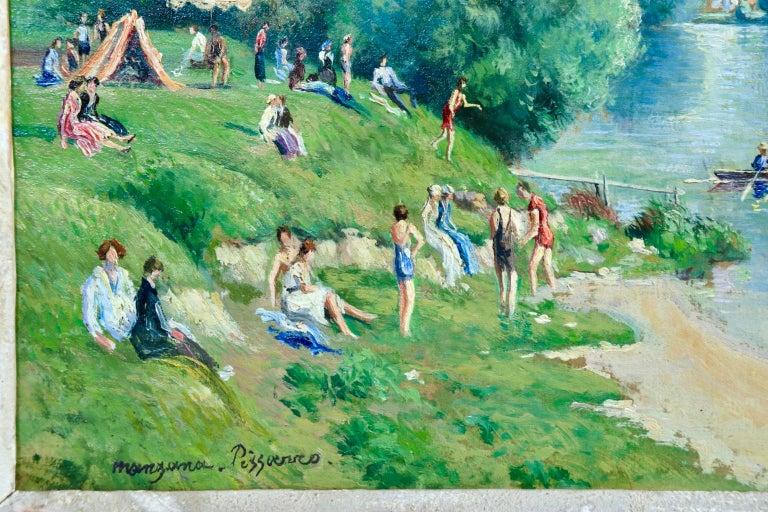 La plage et les baignades - Le Petit Andely - Riverscape Oil by Georges Pissarro For Sale 1