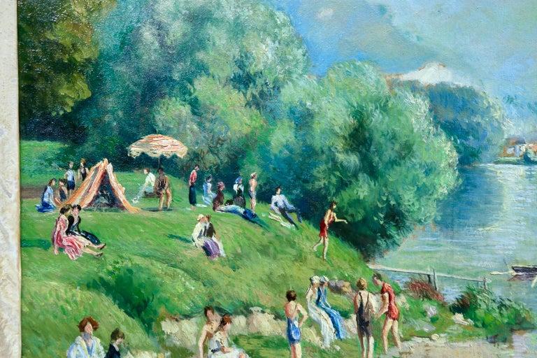 La plage et les baignades - Le Petit Andely - Riverscape Oil by Georges Pissarro For Sale 2