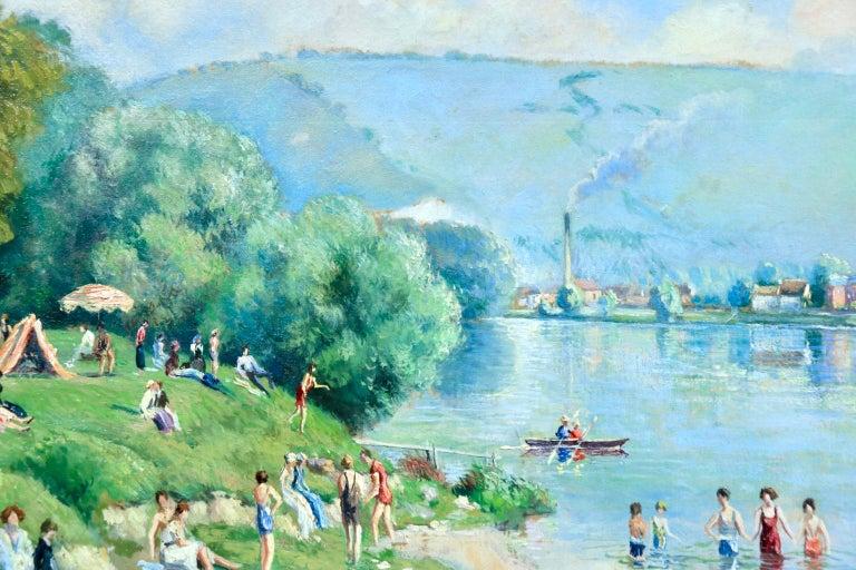 La plage et les baignades - Le Petit Andely - Riverscape Oil by Georges Pissarro For Sale 3