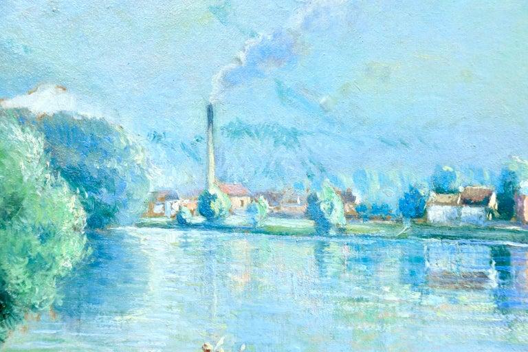 La plage et les baignades - Le Petit Andely - Riverscape Oil by Georges Pissarro For Sale 4