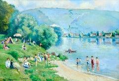 La plage et les baignades - Le Petit Andely - Riverscape Oil by Georges Pissarro