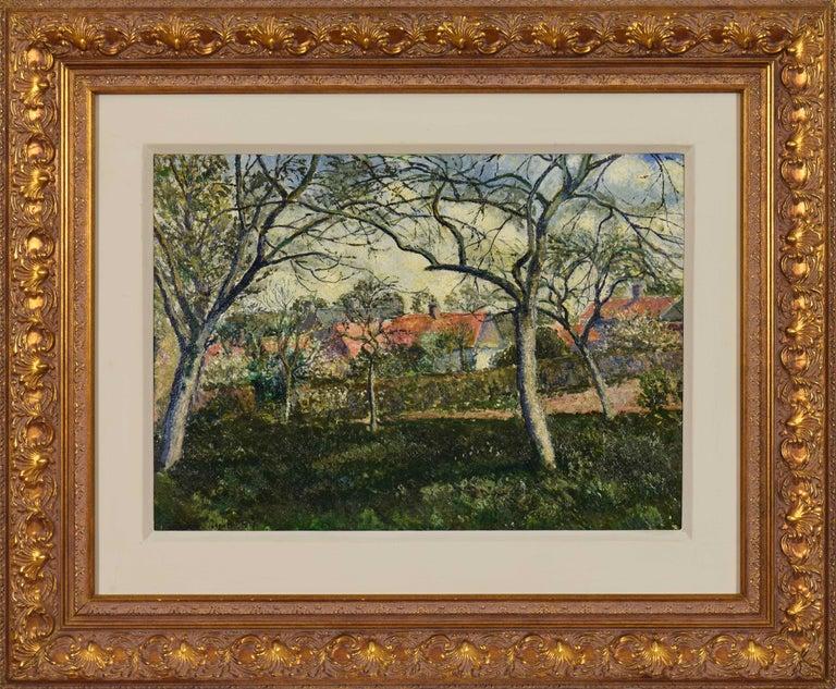 Georges Henri Manzana Pissarro Figurative Painting - Landscape painting by Georges Manzana Pissarro titled Toits Rouges à Menton