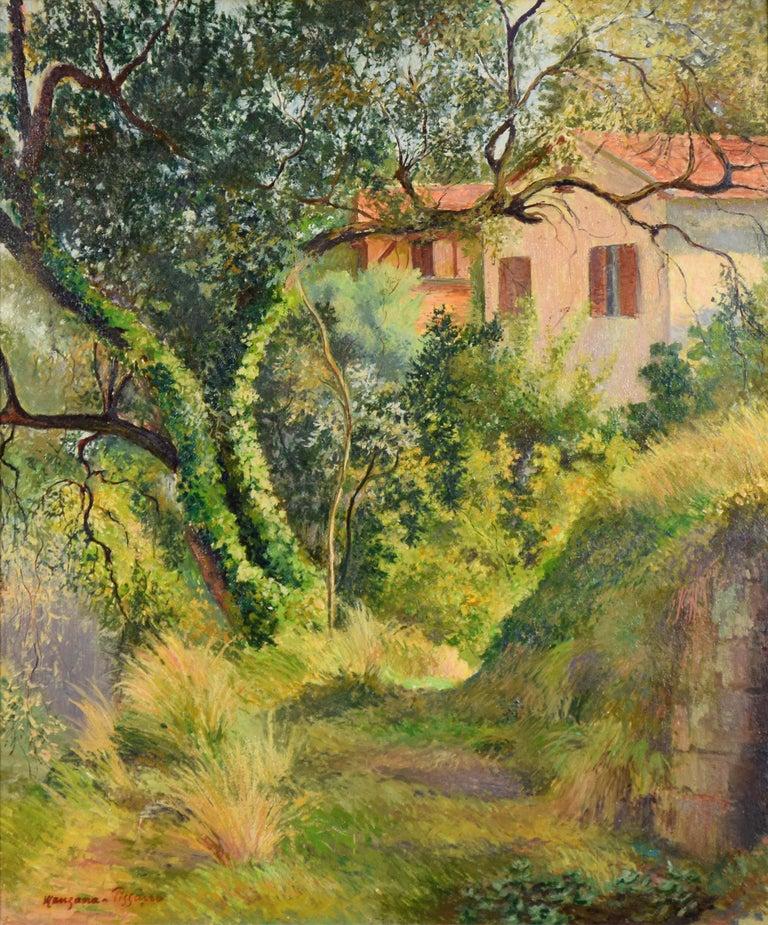 Georges Henri Manzana Pissarro Landscape Painting - Le Chemin à l'Annonciade (Menton) by Georges Manzana Pissarro - Painting