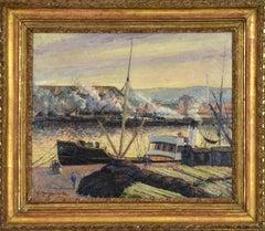 Port de Rouen by GEORGES HENRI MANZANA PISSARRO - Impressionist style painting