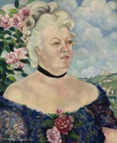 Portrait de Femme sur Fond de Paysage et de Roses by Georges Manzana Pissarro