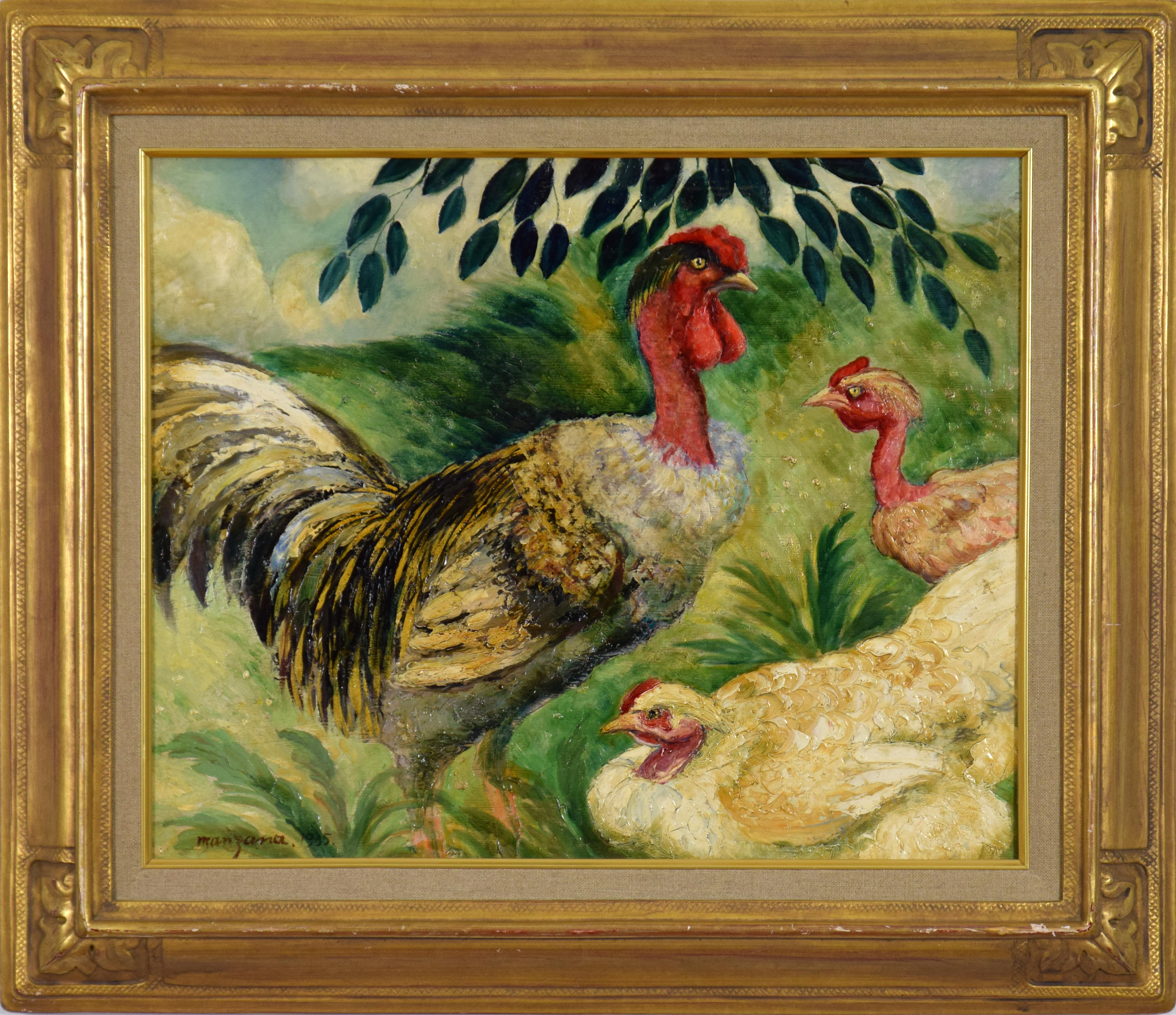 Rooster by GEORGES MANZANA PISSARRO - Animal painting of Cockerel and Chickens