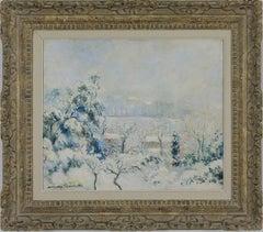 Snow painting by Georges Manzana Pissarro titled Vue de Menton Enneigée, 1955