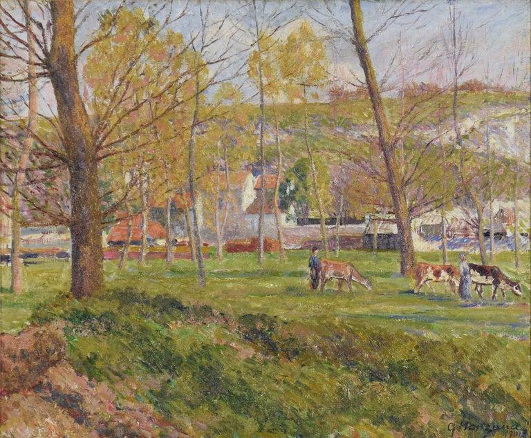 Georges Henri Manzana Pissarro Landscape Painting - Un Paysage Pastoral