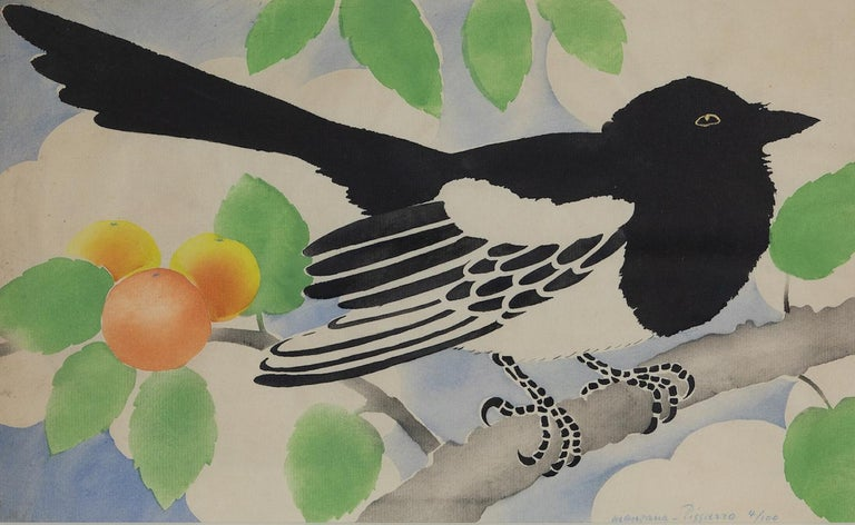 Magpie by Georges Henri Manzana Pissarro (1871-1961) Pochoir 26.4 x 43.5 cm (10 ³/₈ x 17 ¹/₈ inches) Signed Manzana Pissarro and numbered 4/100 lower right  This work is accompanied by a certificate of authenticity from Lélia Pissarro.   Artist