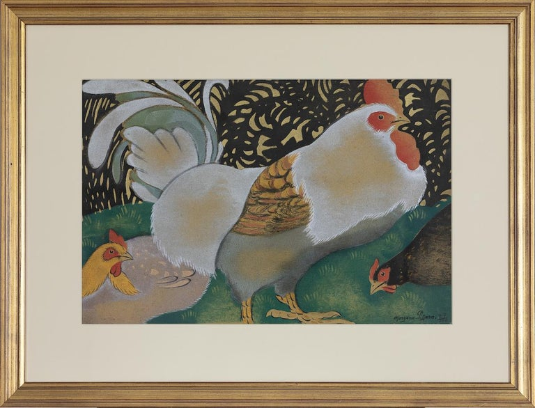 The Cockerel and two Hens by Georges Henri Manzana Pissarro - Pochoir For Sale 1