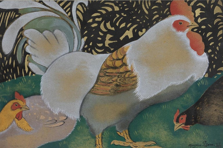 The Cockerel and two Hens by Georges Henri Manzana Pissarro (1871-1961) Pochoir 29.8 x 44.8 cm (11 ³/₄ x 17 ⁵/₈ inches) Signed Manzana Pissarro and numbered 27/100 lower right  This work is accompanied by a certificate of authenticity from Lélia