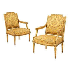 Georges Jacob, Pair of Louis XVI Style Armchairs in Giltwood, circa 1880