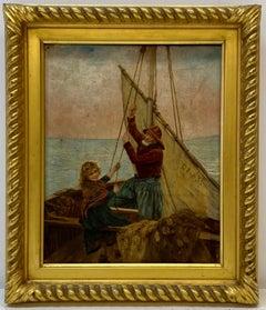 "Georges Jean Marie Haquette ""Fishermans Daughter"" Original Oil Painting 19th C."