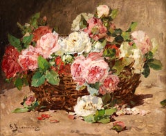 Basket of Roses - Impressionist Oil, Still Life of Flowers by Georges Jeannin