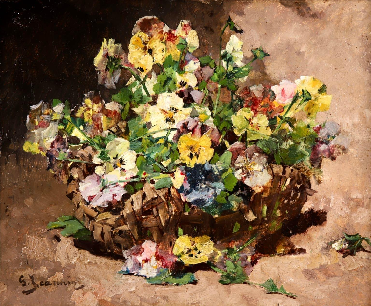 Basket of Violas - Impressionist Oil, Still Life of Flowers by Georges Jeannin