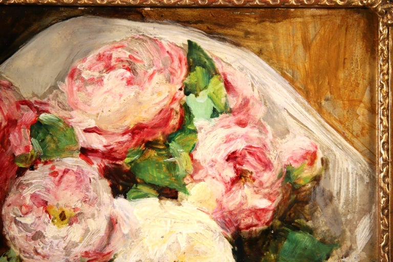 Bouquet des Roses - Impressionist Oil, Still Life of Flowers by Georges Jeannin For Sale 2