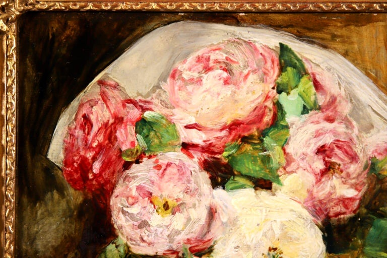 Bouquet des Roses - Impressionist Oil, Still Life of Flowers by Georges Jeannin For Sale 3