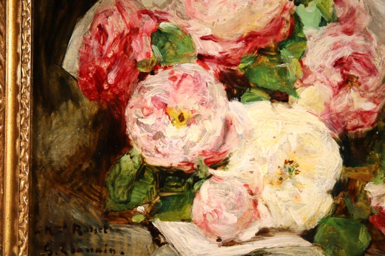 Bouquet des Roses - Impressionist Oil, Still Life of Flowers by Georges Jeannin For Sale 4