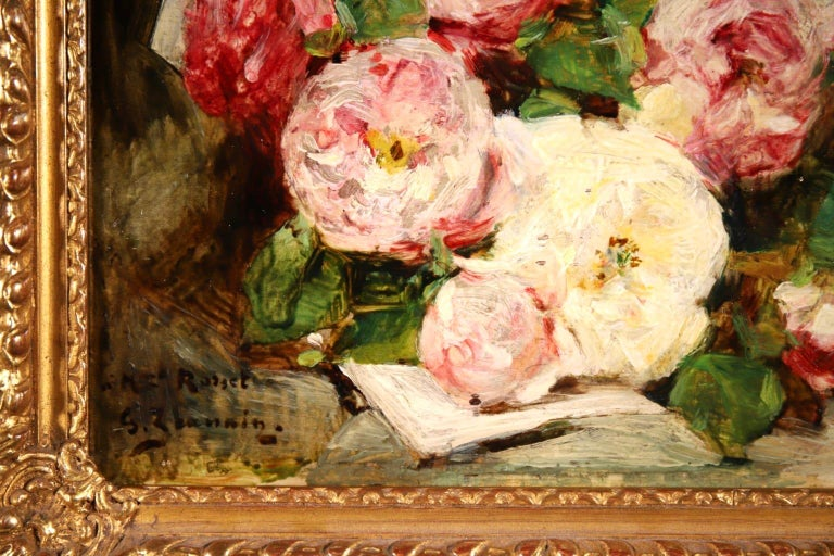 Bouquet des Roses - Impressionist Oil, Still Life of Flowers by Georges Jeannin For Sale 5