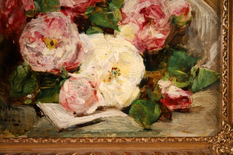 Bouquet des Roses - Impressionist Oil, Still Life of Flowers by Georges Jeannin For Sale 6