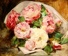 Bouquet des Roses - Impressionist Oil, Still Life of Flowers by Georges Jeannin