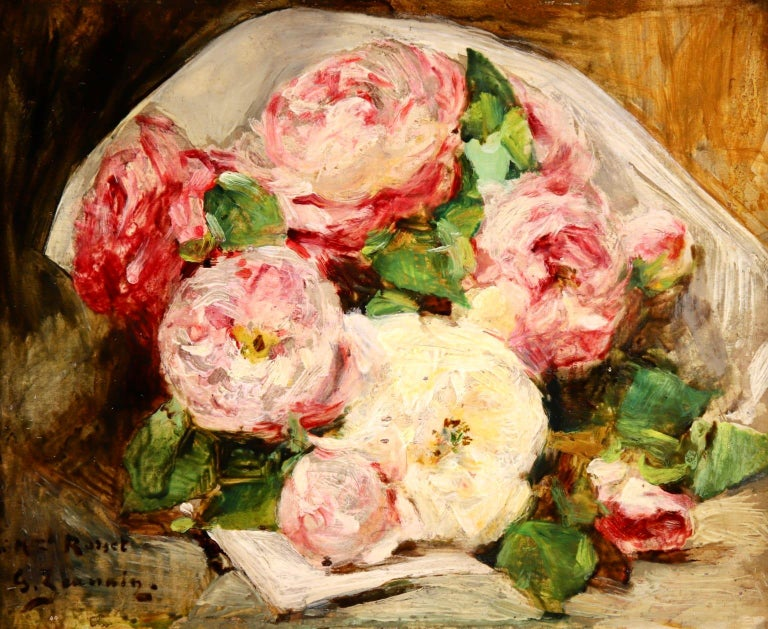 """A wonderful oil on panel by French Impressionist painter Georges Jeannin depicting a bouquet of pink and cream roses.   Signature: Signed and dedicated lower left.   Dimensions: Framed: 10.5""""x13"""" Unframed: 8.5""""x11""""  Provenance: Private French"""