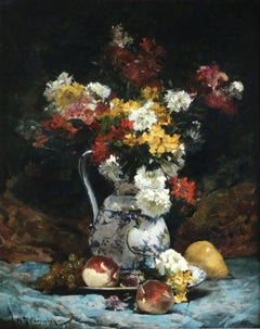 Fleurs - 19th Century Oil, Still Life of Flowers in Vase by Georges Jeannin