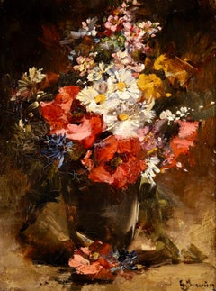 Fleurs dans un Vase - Impressionist Oil, Still Life of Flowers - Georges Jeannin