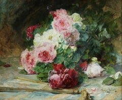 Flowers & Fan - 19th Century Oil, Still Life of Roses by Georges Jeannin