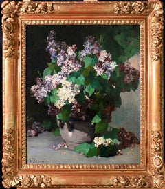 Lillac - 19th Century Impressionist Oil, Still Life of Flowers - Georges Jeannin
