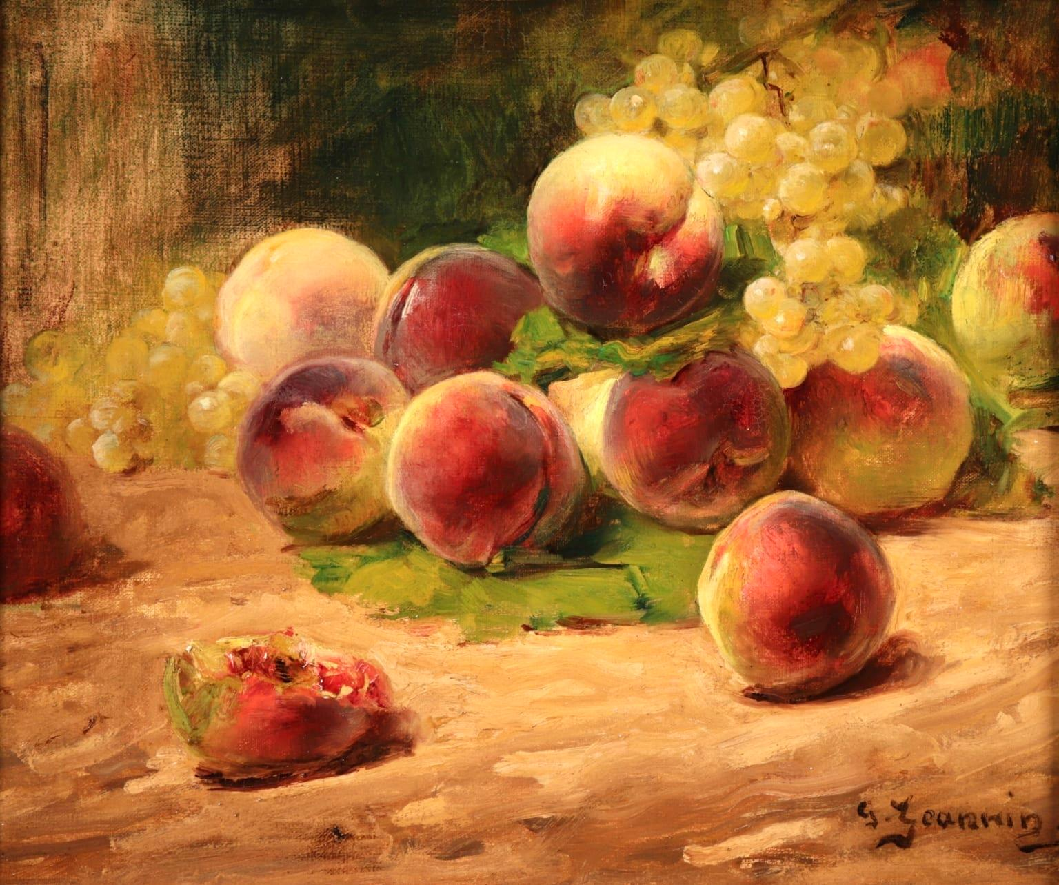 Peaches & Grapes - Impressionist Oil, Still Life of Fruit by Georges Jeannin