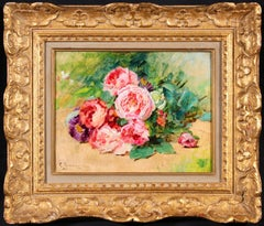 Pink Roses - Impressionist Oil, Still Life of Flowers by Georges Jeannin
