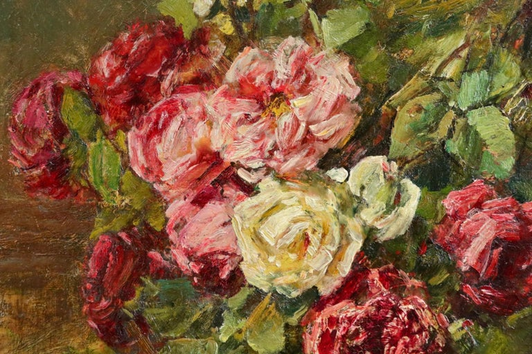 Roses - 19th Century Oil, Still Life of Flowers in Interior by Georges Jeannin For Sale 9