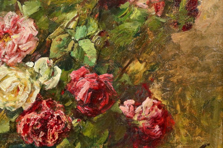 Roses - 19th Century Oil, Still Life of Flowers in Interior by Georges Jeannin For Sale 10
