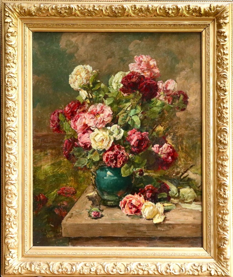Roses - 19th Century Oil, Still Life of Flowers in Interior by Georges Jeannin For Sale 1