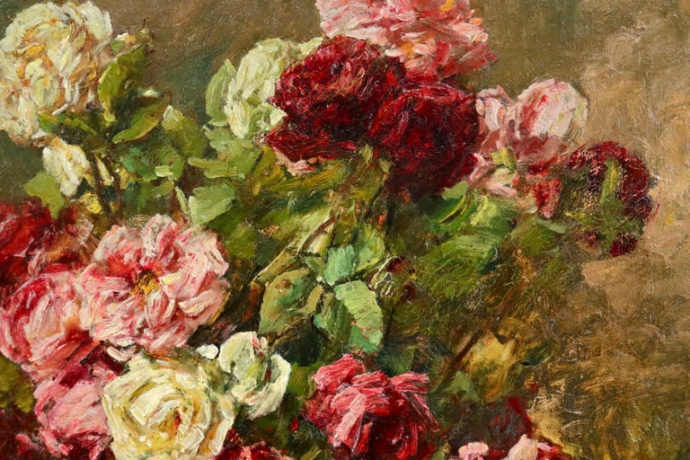 Roses - 19th Century Oil, Still Life of Flowers in Interior by Georges Jeannin For Sale 2